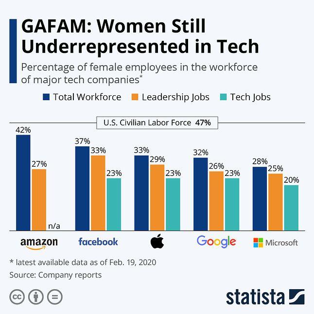 odsetek kobiet zatrudnionych w największych firmach technologicznych w USA, fot. Statista