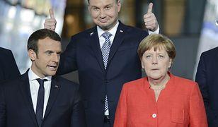 Emmanuel Macron, Andrzej Duda i Angela Merkel w Brukseli, maj 2017