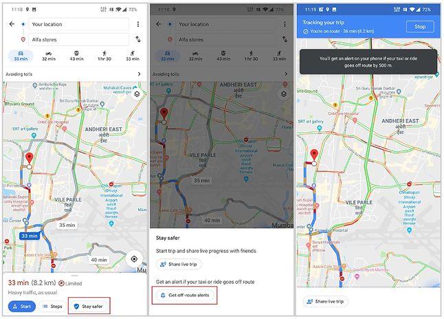 Opcja powiadamiana o zboczeniu z trasy w Mapach Google, źródło: XDA Developers.