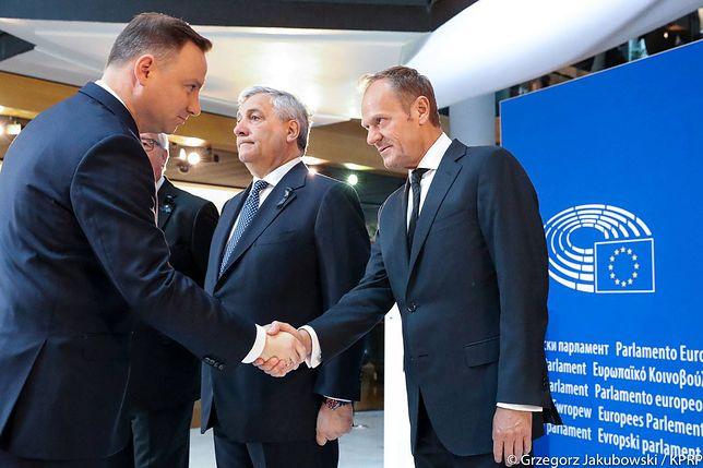 Prezydent Andrzej Duda i przewodniczący RE Donald Tusk.