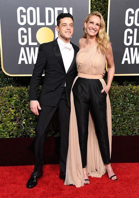 Julia Roberts i Remi Malek na gali rozdania Złotych Globów w 2019 roku