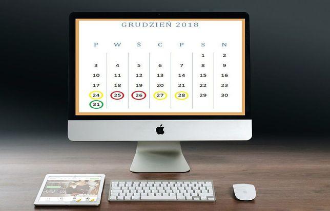 Kalendarz na 2018 rok.