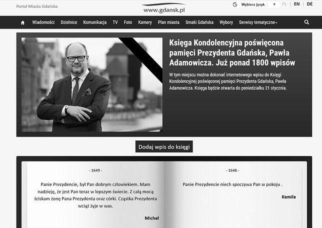 Każdy może oddać hołd Adamowiczowi. Jest elektroniczna księga kondolencyjna
