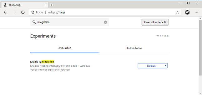 Ustawienia eksperymentalne nowego Microsoft Edge'a.