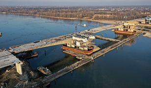 Warszawa. Budowa mostu Południowego
