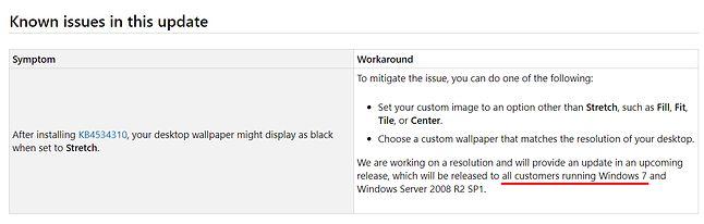 """Informacje o problemie z """"rozciąganiem"""" tapety w Windows 7, źródło: Microsoft."""