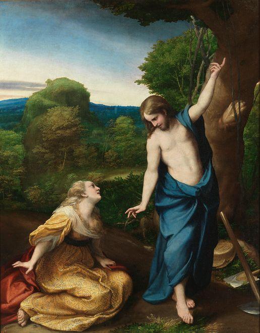 """""""Noli me tangere"""", scena spotkania zmartwychwstałego Jezusa ze św. Marią Magdaleną, Antonio Allegri da Correggio, XVI w."""