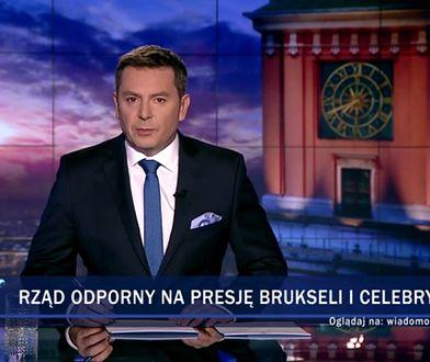 """Materiał zatytułowano """"rząd odporny na presję Brukseli i celebrytów"""""""