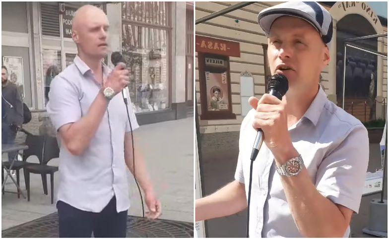 Łzy cisną się do oczu. Krzysztof Krawczyk junior śpiewa hity ojca na ulicy Piotrkowskiej w Łodzi