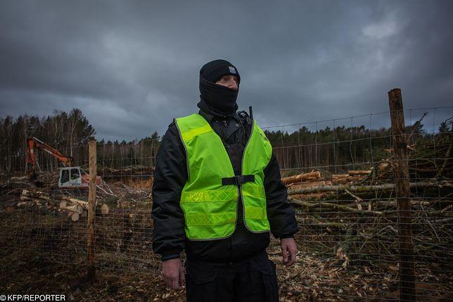 20 lutego 2019 roku. Wycinki drzew w okolicach Skowronek pilnowali policjanci i strażnicy leśni.