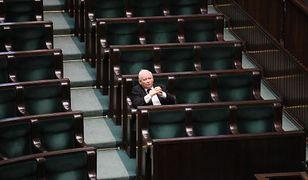 Jarosław Kaczyński, lider PiS, w Sejmie