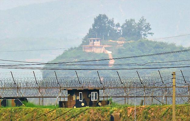 Budki strażnicze Korei Północnej i Południowej przy granicy
