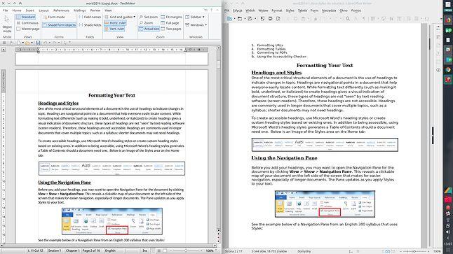 FreeOffice i LibreOffice obok siebie: niestety ten drugi nie potrafi wciąż idealnie wyświetlić dokumentu DOCX
