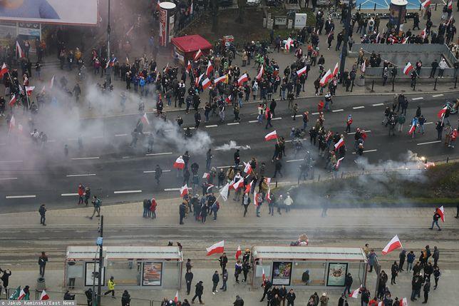 Incydenty na Marszu Niepodległości. Samochód stanął w ogniu