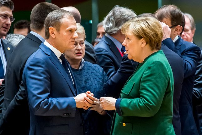 Angela Merkel i Donald Tusk podczas szczytu Rady Europejskiej