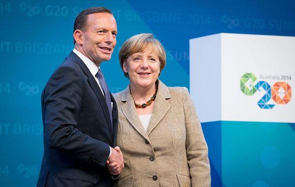 Premier Australii Tony Abbott wita Angelę Merkel na szczycie G20