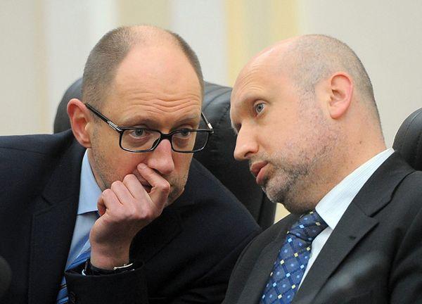 Premier Ukrainy Arsenij Jaceniuk i p.o. prezydenta Ołeksandr Turczynow
