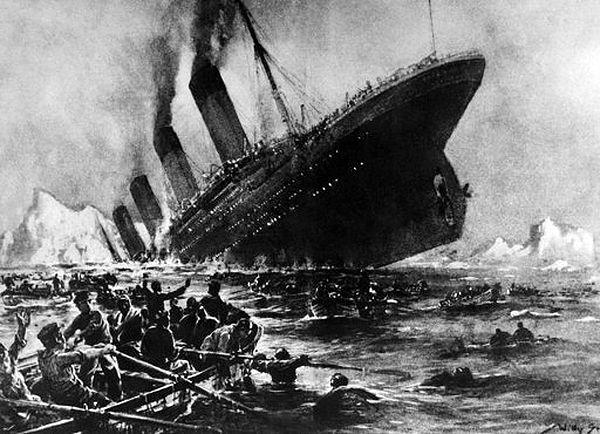 Rysunek przedstawiający zatonięcie Titanica