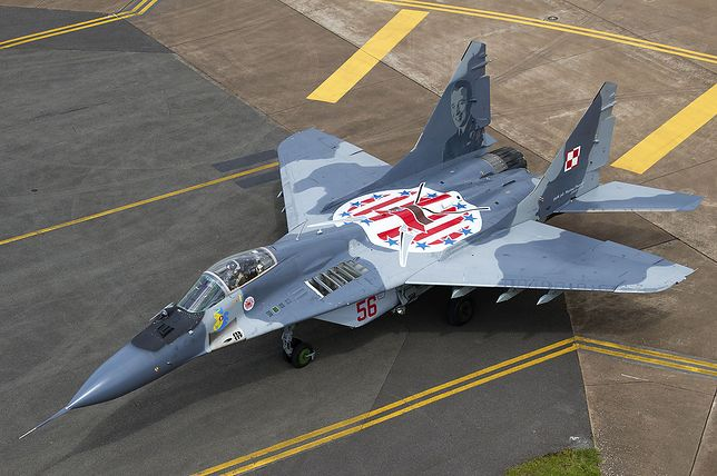 Samolot MiG-29 z bazy lotniczej w Mińsku Mazowieckim