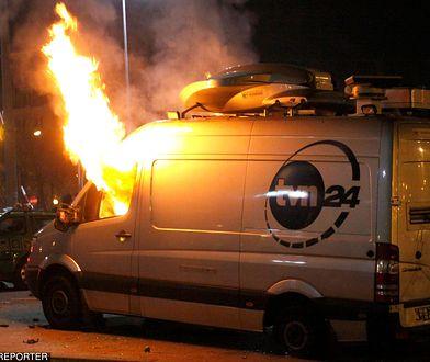 Spalił wóz transmisyjny TVN-u
