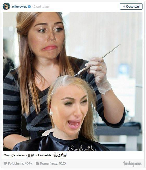 Miley Cyrus farbuje włosy Kim Kardashian