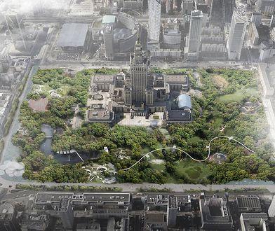 """Olbrzymi zielony park wokół Pałacu Kultury. """"Zróbmy to!"""""""