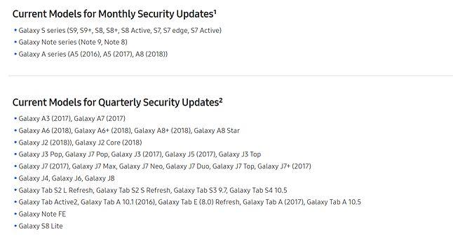 Bieżąca lista smartfonów Samsunga, dla których wydawane są aktualizacje bezpieczeństwa, źródło: Samsunga.