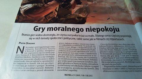 """W prasie: pozytywny artykuł o """"grach moralnego niepokoju"""""""