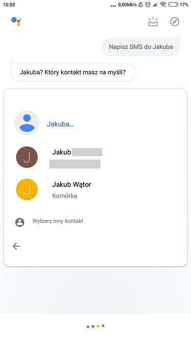 wybór kontaktu przed wysłaniem SMS-a (niestety Asystent nie wie, że Kuba i Jakub to to samo imię)