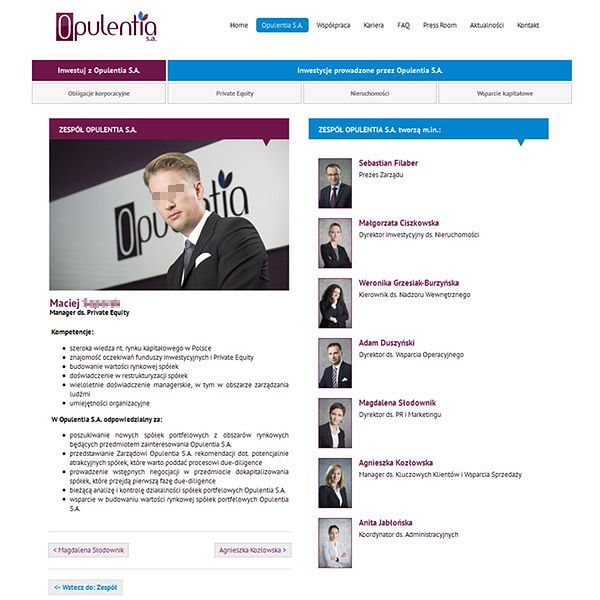 Informacja na temat Macieja S. na stronie internetowej Opulentia S. A. Nazwisko i wizerunek ukryliśmy ze względu na zarzuty prokuratorskie