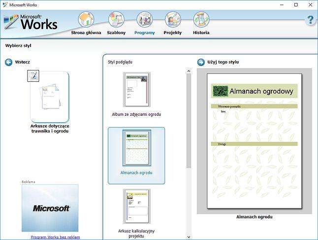 Microsoft Works. Bo przecież każdy chce stworzyć swój własny Almanach Ogrodowy!