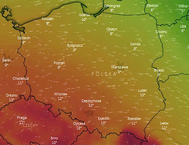 Już w sobotę temperatura sięgnie 10 st. C, ale to w niedzielę w Krakowie może być ponad 13 st. C (na mapie prognozowane temperatury w niedzielę ok. godz. 13)