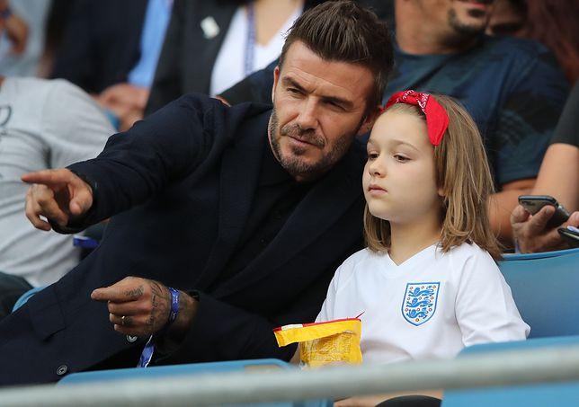 David Beckham zabrał córkę na mecz mistrzostw świata kobiet. Znów pocałował ją w usta