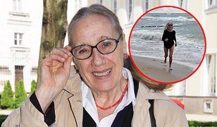 Maja Komorowska biega po plaży