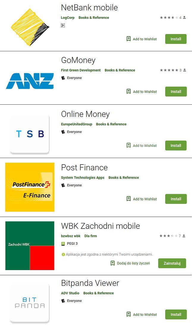 Fałszywe aplikacje związane z finansami w Sklepie Play, źródło: ESET.