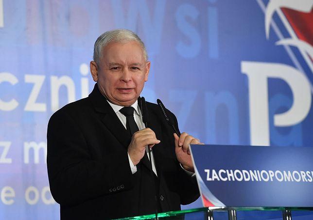 Jarosław Kaczyński przemawia na konwencji PiS w Szczecinie