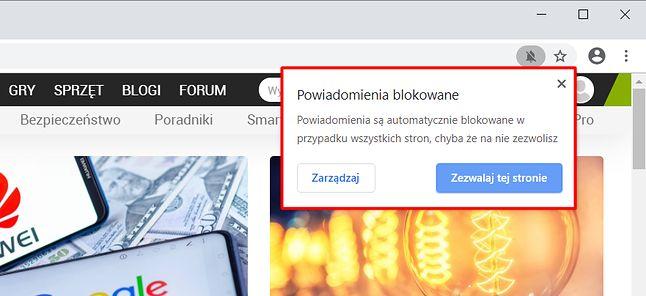 Zablokowane powiadomienie może skutkować wyświetleniem ikony na pasku adresu. Kliknięcie rozwija szczegóły.