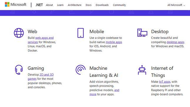"""Strona główna .NET wita programistów tym, co zarabia pieniądze: """"webówka"""", Android, IoT, gry, AI."""
