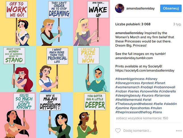 Księżniczki Disneya zamieniły się w prawdziwe kobiety i protestują