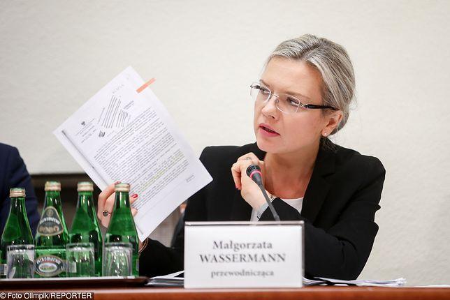 Małgorzata Wassermann podczas przesłuchania Donalda Tuska przez komisję śledczą ds Amber Gold