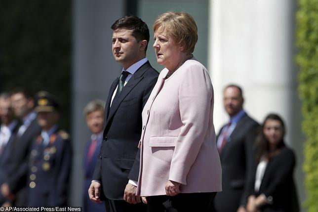 Angela Merkel podczas wizyty prezydenta Ukrainy.