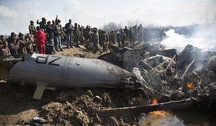 Wrak myśliwca zestrzelonego przez pakistańską armię