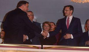 Andrzej Duda i Mateusz Morawiecki podczas premiery filmu Smoleńsk