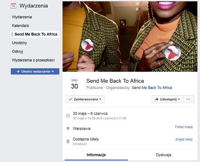 "Akcja ""Send me back to Africa"" na Facebooku"