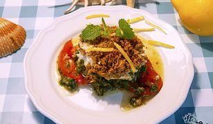 Halibut zapiekany z oliwkowym puree. Pyszny sposób na rybę