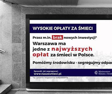 Warszawa. Nowa kampania reklamowa Ministerstwa Klimatu i Środowiska. Tematem opłaty za śmieci w stolicy