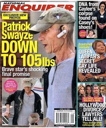 Patrick Swayze na okładce magazynu