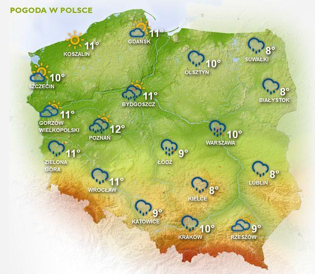 Temperatury w Polsce będą się niedzielę utrzymywać w granicach 8-12 stopni Celsjusza.