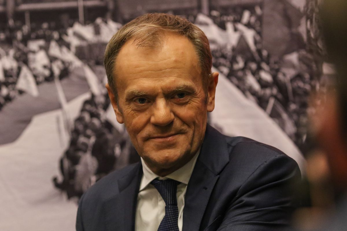 """Former President of the European Council Donald Tusk signing his book """"Honestly"""" (Szczerze) in the European Solidarity Centre is seen in Gdansk, Poland on 18 December 2019  (Photo by Michal Fludra/NurPhoto via Getty Images)"""