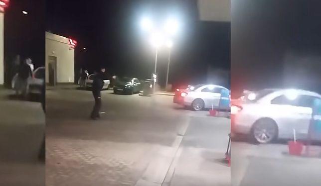 Interwencja policji na stacji paliw w Rymaniu